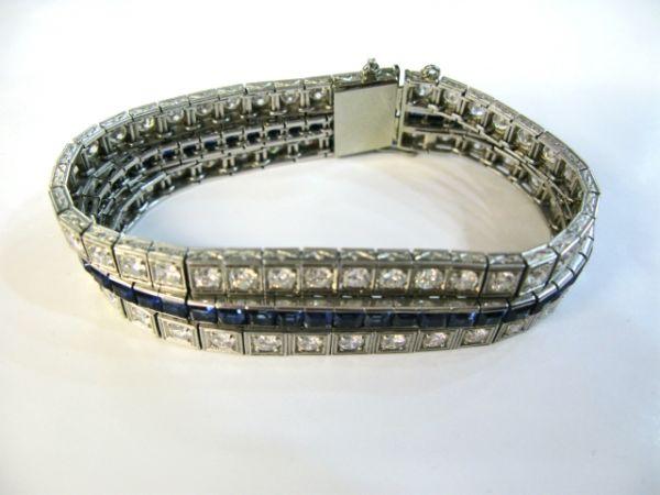 Art Deco Sapphire And Diamond Triple Bracelet