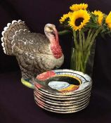 Majolica Thanksgiving Turkey Tureen and Dinner Plate Set