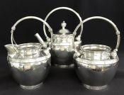 ACME Silver Aesthetic Movement Victorian Era Silver Plate Bachelor Tea Set