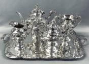 American Art Nouveau 4 Piece Tea Set Plus Matching Tray