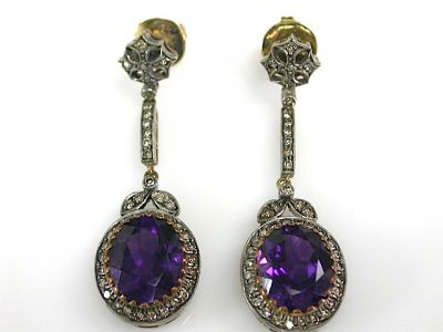 Victorian Style Amethyst and Diamond Drop Earrings