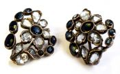 Antique Sapphire and Aquamarine Earrings
