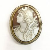 Antique Carved Conch Shell Cameo Brooch