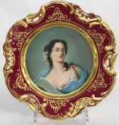 Antique Dresden Portrait Cabinet Plate
