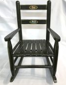 Antique Ebonized Child's Rocking Chair With Hand Painted Dog Portraits