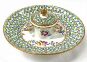 Antique French Porcelain Inkwell And Attached Stand