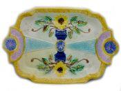 Antique Majolica Cake Plate
