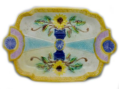 Antique Majolica Cake Plate