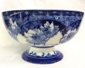 Antique Royal Doulton Flow Blue Pedestal Bowl