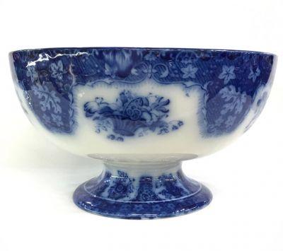 Antique Royal Doulton Flow Blue Transfer Ware Pedestal Bowl
