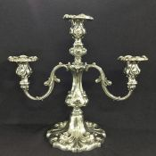 Antique Silver Plate 3 Light Candelabra with Bobechs
