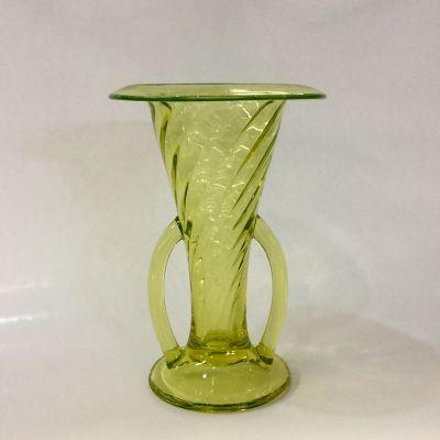 Antique Two-Handled Vaseline Glass Vase
