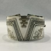 Antique Victorian Sterling Silver Hinged Bracelet