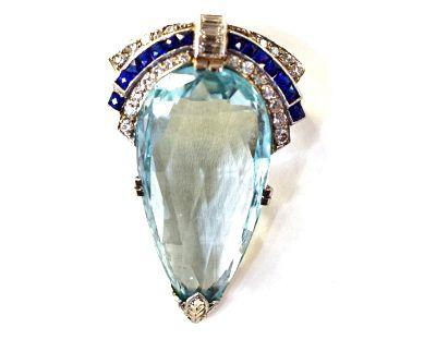 Art Deco Aquamarine Sapphire Diamond Brooch Pendant