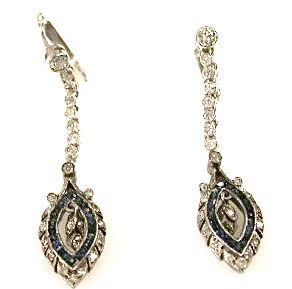 Art Deco Diamond and Sapphire Drop Earrings