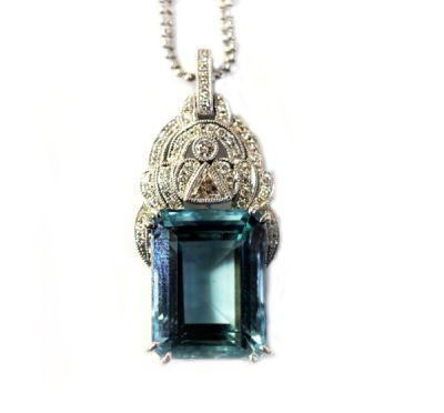 Art Deco Inspired Aquamarine and Diamond Necklace