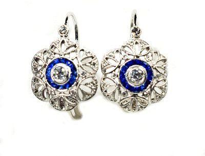Art Deco Style Diamond and Sapphire Earrings