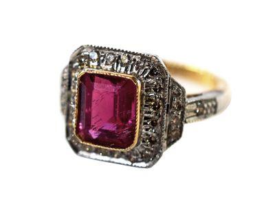 Art Deco Style Pink Tourmaline and Diamond Ring