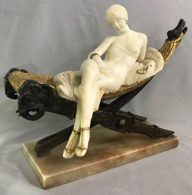 Art Deco Alabaster Sculpture of a Woman