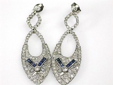 Art Deco Diamond and Sapphire Earrings