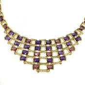 Art Deco Inspired Multi Gemstone Necklace