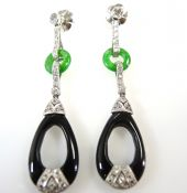Art Deco Platinum Diamond, Jade And Onyx Drop Earrings