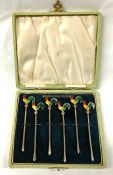 Art Deco Rooster Cocktail Picks, American, Circa 1925-30