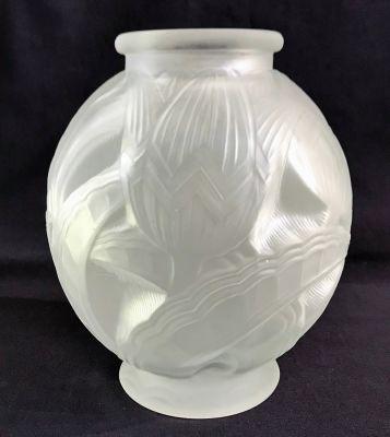 Art Deco Satin Finish Glass Vase of Stylized Lotus Flowers