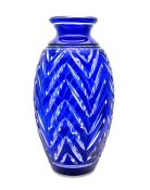 Art Deco Vibrant Cobalt Blue Cut To Clear Crystal vase