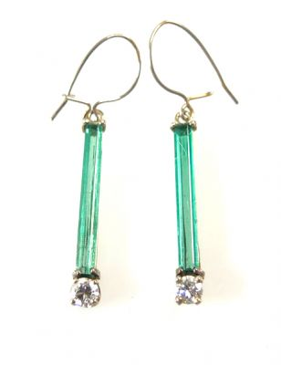 Art Deco White Gold Emerald And Diamond Drop Earrings