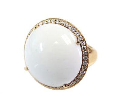 Birks Vintage White Onyx and Diamond Ring