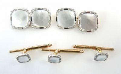 Birks Platinum Gold Mother of Pearl Cufflinks