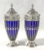 Birks Sterling Silver And Cobalt Blue Glass Sugar Castors, Circa 1920
