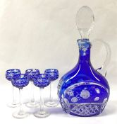 Bohemian Coloured Crystal Decanter and Long Crystal Liqueur Glasses