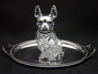 Antique Boston Terrier Decanter On Stand
