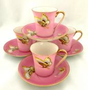 Butterfly Hand Painted and Gilded Nippon Demitasse Cups and Saucers