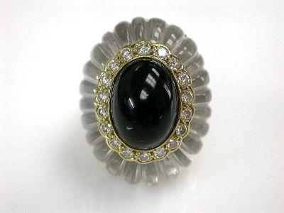 Ring Black Onyx Rock Crystal and Diamond