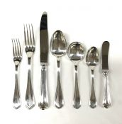 """Christofle Flatware """"Spatours"""" Pattern In Silver Plate"""