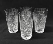 Cut Crystal Water Glasses, English, Circa 1930s.