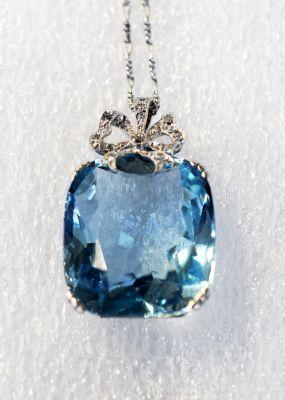Edwardian Aquamarine and Diamond Pendant