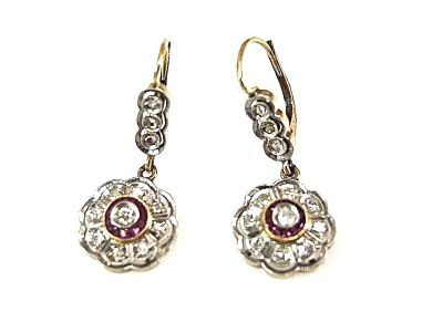 Edwardian Diamond and Ruby Drop Earrings