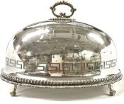 English Victorian Silver Plate Meat Dome With Well and Tree Platter