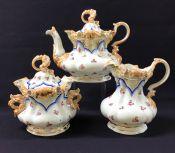 Exuberant Victorian Three Piece Porcelain Tea Set