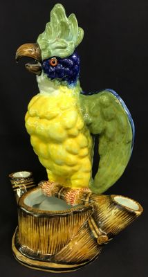 Faience Parrot Figure, French, Late 19th Century