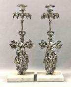 Figural Silvered Metal Garniture Candlesticks