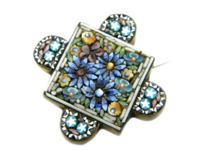 Micro Mosaic Brooch or Floral