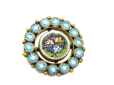Micro Mosaic Brooch or Pin Floral