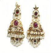 Fresh Water Pearl and Ruby Earrings