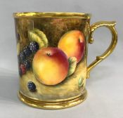 Hand Painted Fruit Study Royal Worcester Tankard