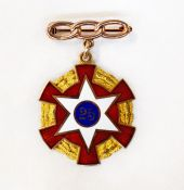 IOOF 25 Year Gold and Enamel Brooch
